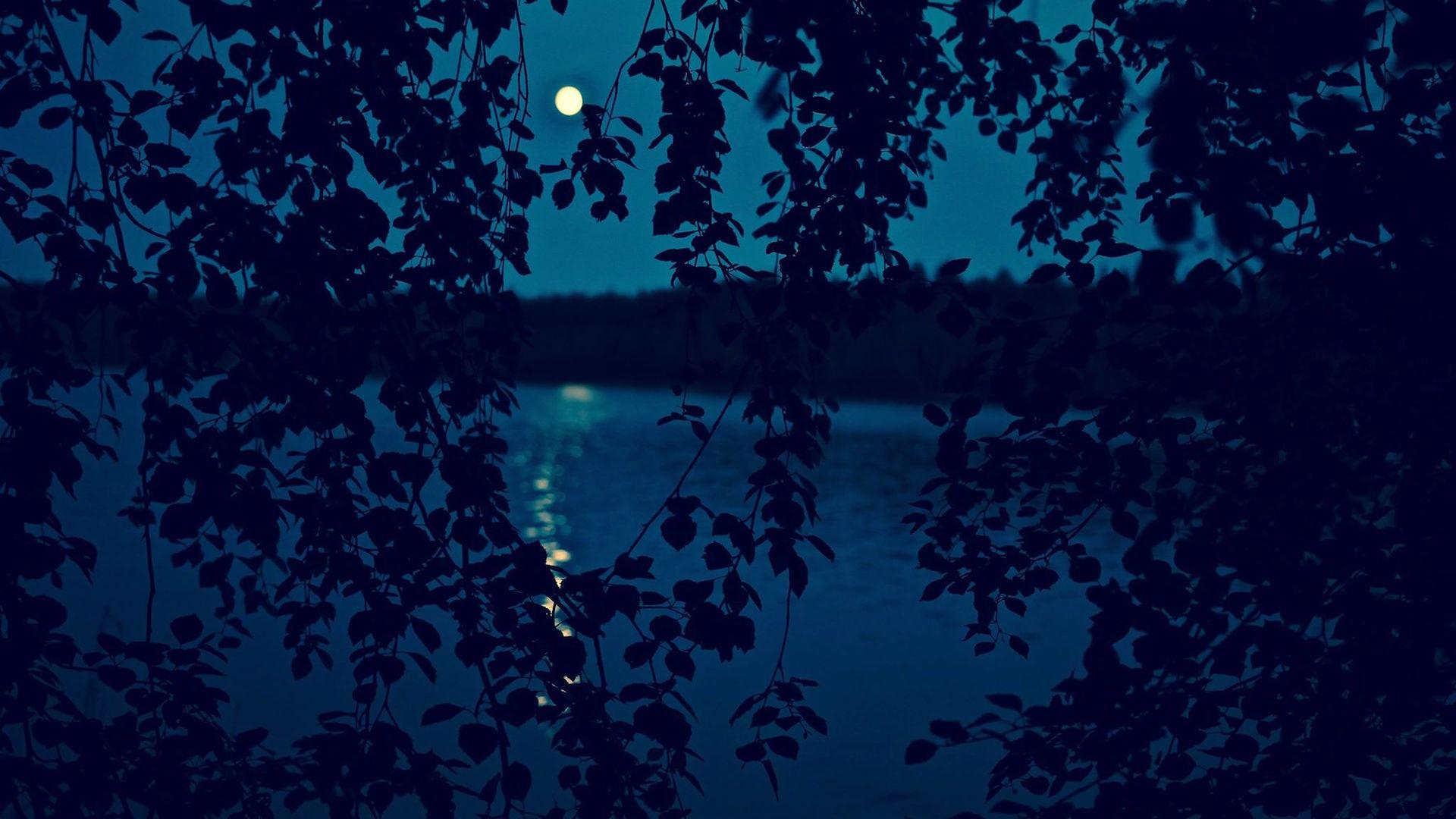 Syksyinen vesimaisema ja kuu