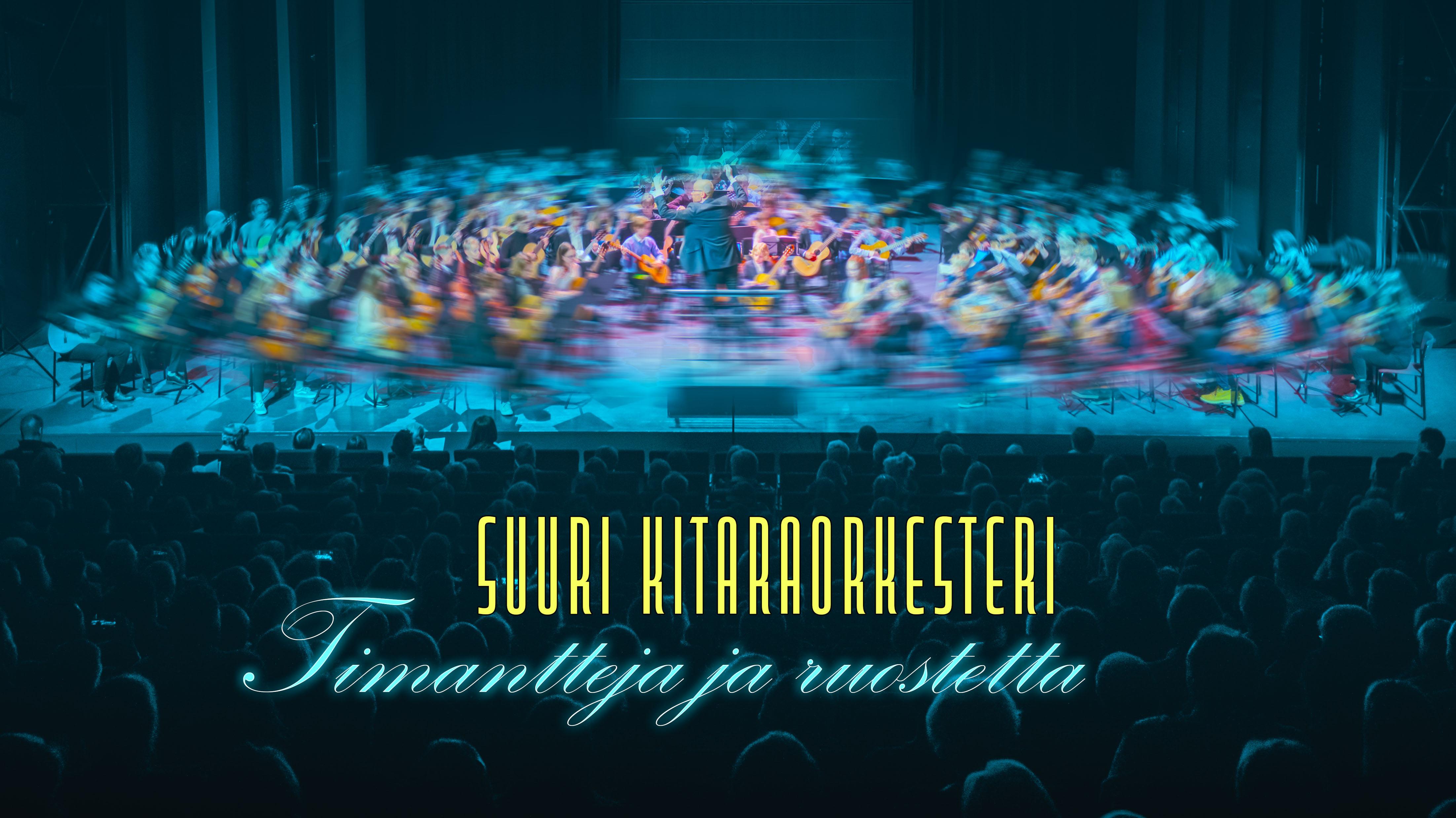 Turun konservatorion ja musiikkiopiston suuren kitaraorkesterin mainosjulisteessa yli sata soittajaa ja täysi Sigyn-sali